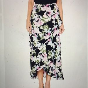 Vince Camuto Floral,  Ruffled Long Skirt NWT